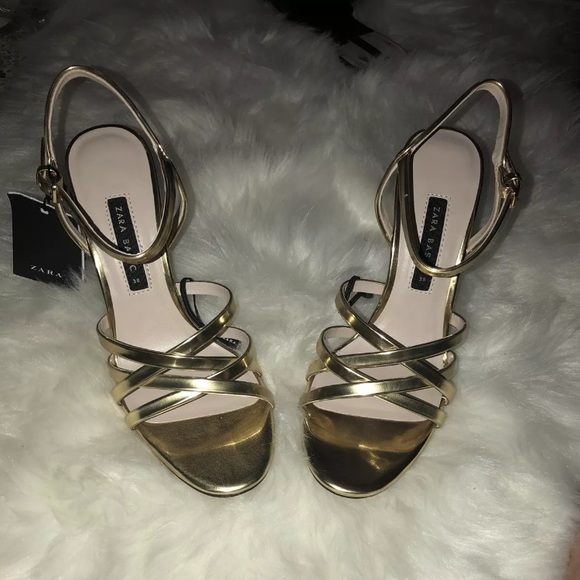 867a488afbad ZARA LAMINATED SANDALS STRAPPY STILETTO GOLD